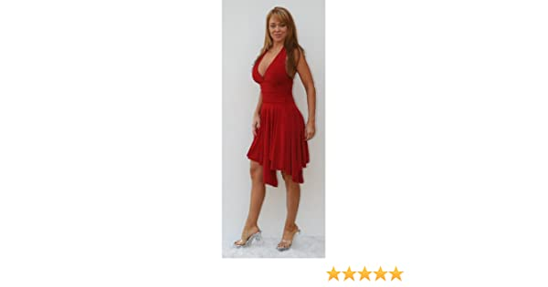 446eddb6fec Amazon.com  d188 Sexy Marilyn Monroe Halter Salsa Dress