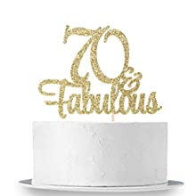 INNORU Gold Glitter 70 & Fabulous Cake Topper - 70th Birthday Party Decoration Sign - Adult Birthday Party Supplies