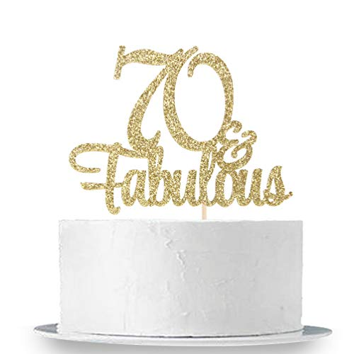 INNORU Gold Glitter 70 & Fabulous Cake Topper - 70th Birthday Party Decoration Sign - Adult Birthday Party Supplies]()