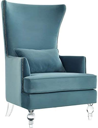 Tov Furniture The Bristol Collection Contemporary Velvet Upholstered Tall Living Room Parlor Chair