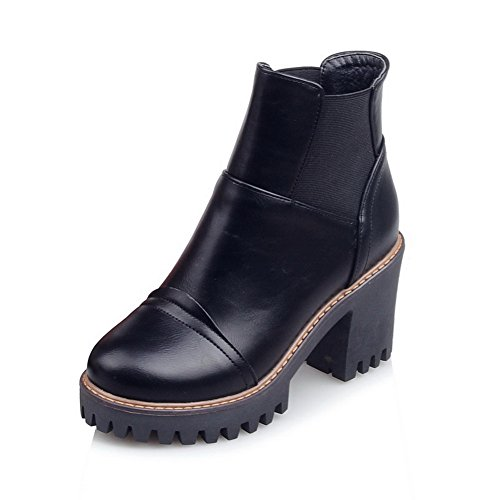 Girls Elastic AdeeSu Black Band Leather Business Boots Imitated Platform vqBB4d