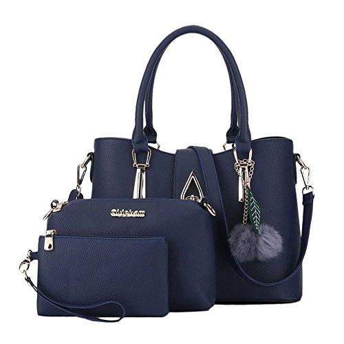 Frauen Tragetasche Handtasche Schulter Messenger Bag Mit pompom Ornamenten Mehrfarbig Blau