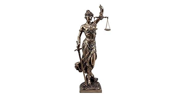Ebros Seated Lady Justice Statue 8 Tall Greek Goddess La Justica Dike Figurine in Faux Bronze Resin