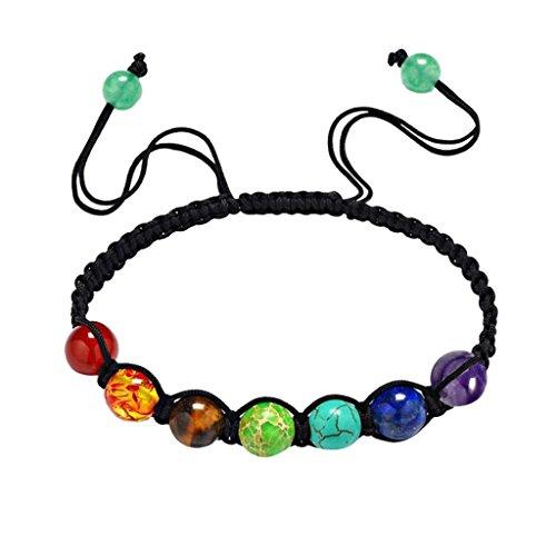 Price comparison product image Creazrise Clearance! 7 Chakra Healing Agate Bracelet Unisex Yoga Beads Braided Bracelet