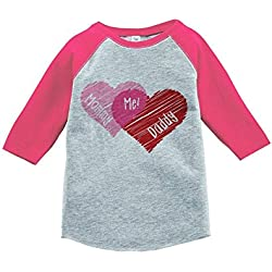 Custom Party Shop Girl's Mommy + Daddy = Me Valentine's Day Toddler Vintage Baseball Tee 5T Pink and Grey