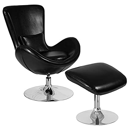 4b8c8d29fdc Amazon.com: Emma + Oliver Black Leather Side Reception Chair with ...