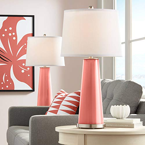 Leo Modern Table Lamps Set of 2 Coral Reef Glass Tapered Column White Drum Shade for Living Room Family Bedroom Bedside - Color + ()