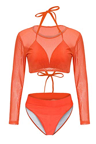 Kisscynest Women's Halter High Neck Cut-Out Straps Three Pieces Long-Sleeved Mesh Swimsuit Orange XL