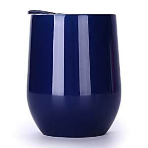 12 oz Insulated Stemless Glass,Stemless Wine Glass,Wine Tumbler, Exclusive for Home, Office,Perfect for Wine,Coffee, Drinks,Champagne,Cocktails