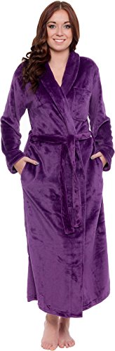 Silver Lilly Lightweight Full Length Kimono Robe for Women - Plush Comfy Long Bathrobe (Sizes Small - Plus Size XXL) (Purple, - Nightgown Length Tea