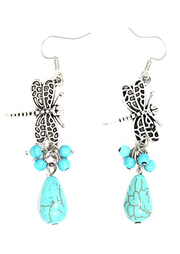 Turquoise Dragonfly Earrings Antique Silver Tone EI54 Dangle Bead Blue Chandelier Fashion ()