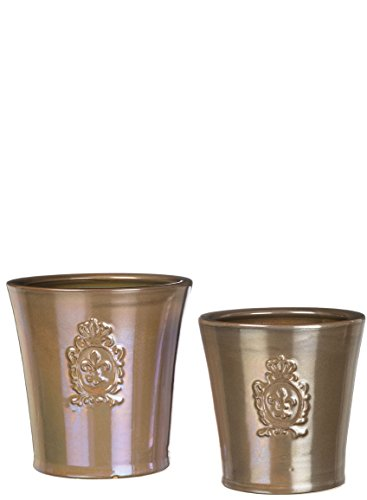 Sullivans CM2778 Fleur-De-Lis Medallion Planter Flower Pots or Storage Container, Bronze, 5.5 and 7.5 Inch, Set of 2