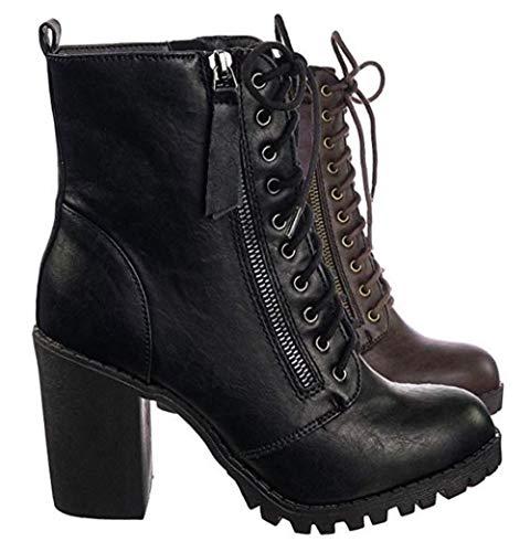 MVE Shoes Women's Block Heel Side Zipper Combat Ankle Boots, Malia Black PU 8.5