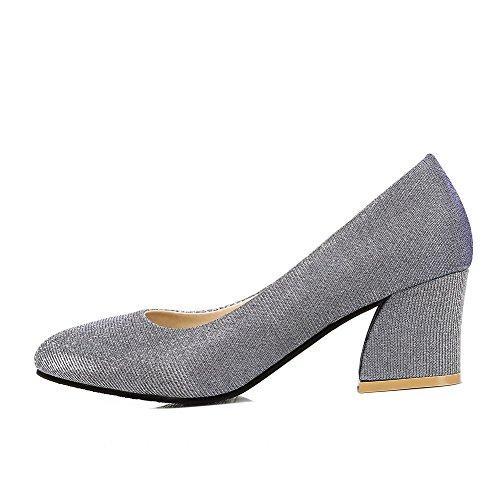 Amoonyfashion Femmes Tirer Sur Des Talons Chaton Matériel Mixte Point Fermé Fermé Orteils Chaussures-chaussures Argent