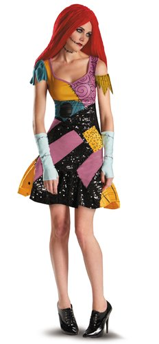 Disguise Tim Burtons The Nightmare Before Christmas Sally Glam Adult Costume, Yellow/Black/Purple, (Sexy Sally Costumes)