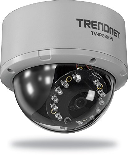 Zoom Mpeg4 Network Camera - TRENDnet Megapixel PoE Dome Network Surveillance Camera with Night Vision, TV-IP262PI (Black)