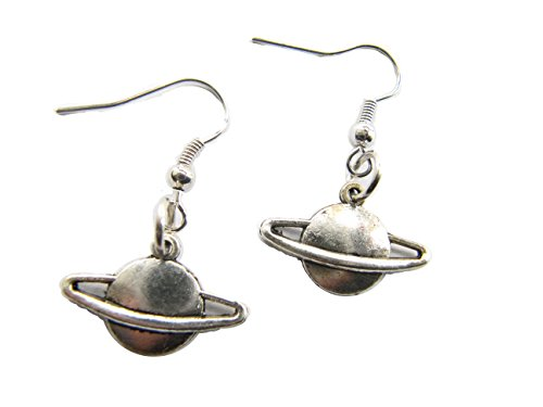 Saturn Dangle Earrings,science,space Solar System Planet Interstellar Galactic Jewelry in Antique Silver
