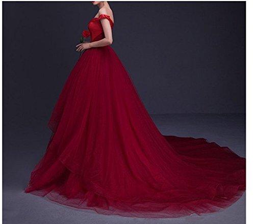 Femmes Dreamdress Est Hors Du Tulle Épaule En Rouge Une Ligne Rouge Balle Robe De Mariée