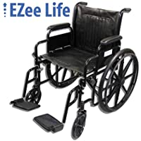 EZee Life Standard Wheelchair with Removable Arms, Swing-Away Removable Footrest (20 inch)