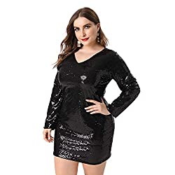 Plus Size V Neck Full Sleeves Black Cocktail Dress