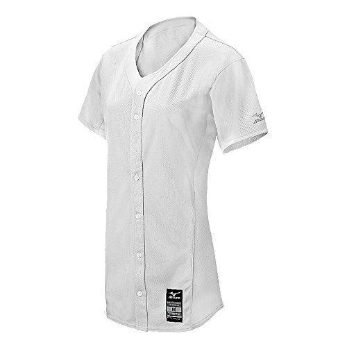 Mizuno Girls Pro full-button Game Jersey B01JGAQPZS Large|ホワイト ホワイト Large