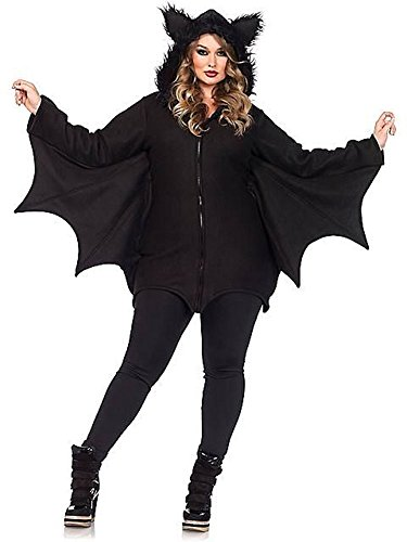 Plus Size Costume Halloween (Leg Avenue Women's Plus-Size Cozy Bat Costume, Black, 1X/2X)
