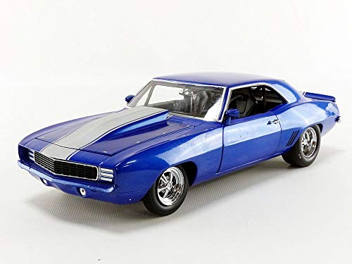 Car Metallic Diecast Blue (1969 Chevrolet Camaro 1320 Drag Kings Metallic Blue with White Stripe Limited Edition to 804 pieces Worldwide 1/18 Diecast Model Car by GMP 18876)