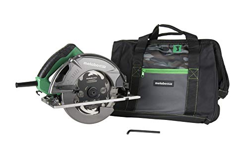 Metabo HPT C7SB3 7-1/4-Inch Circular Saw Kit, 6,000 RPM, 15-amp Motor, Integrated Dust Blower, 24T Premium Framing/Ripping Blade, Single Handed Bevel Adjustment, On-tool Cord Holder, Carrying ()