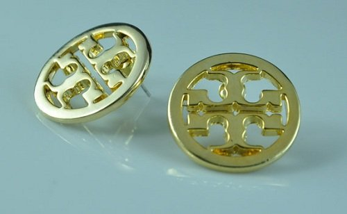 Fashion Gold Round T Studs Earrings