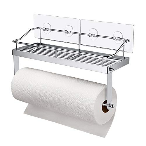 Carry360 Adhesive Paper Towel Holder Shelf,Wall Mounted Paper Towel Holder Basket for Kitchen,Shower Bathroom & Balcony,Rustproof,No Drilling,SUS 304 Stainless ()