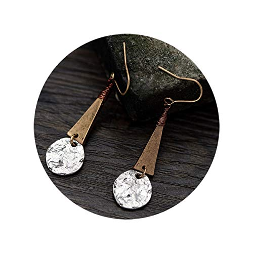 (Defiro Boho Drop Coin Earring Round Dangle Hoops Handmade Retro Geometry Earring Copper Wire Women Jewelry)