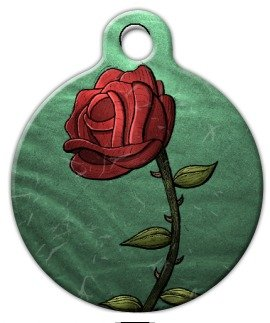Single Rose   Custom Pet ID Tag For Dogs And Cats   Dog Tag Art