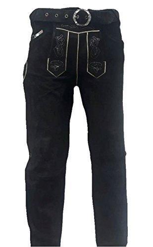 SHAMZEE Trachten Lederhose lang in Schwarz farbe Echt Leder SHAMZEE Trachtenlederhosen Gr. 46-62 (taillenmaß stehen im beschreibung) (50, Schwarz)