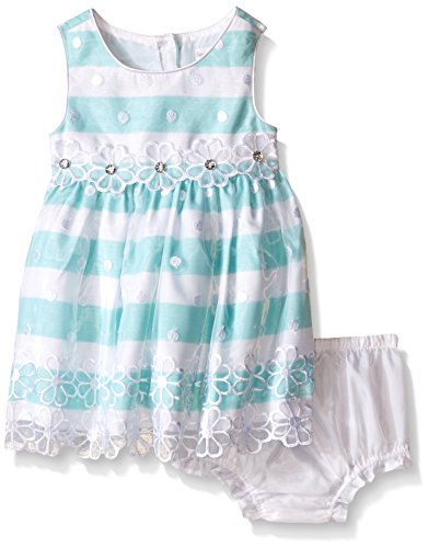 Sweet Heart Rose Baby Embroidered Organza Stripe Dress, Turquoise/White, 24 Months