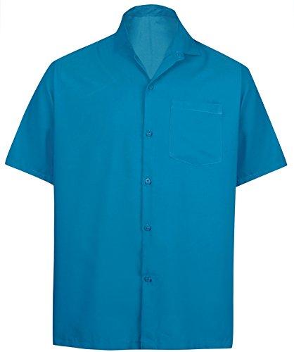 LA LEELA Rayon Beach Luau Vacation Dress Shirt Teal Blue 2XL  Chest 54
