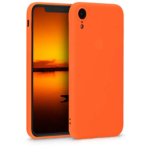 - kwmobile TPU Silicone Case for Apple iPhone XR - Soft Flexible Shock Absorbent Protective Phone Cover - Neon Orange
