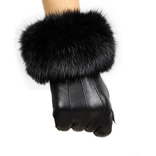 Lemontree Damen Winter Sheep Leder und Rabbit Pelz Handschuhe Mit Touchscreen Funktion ZT1