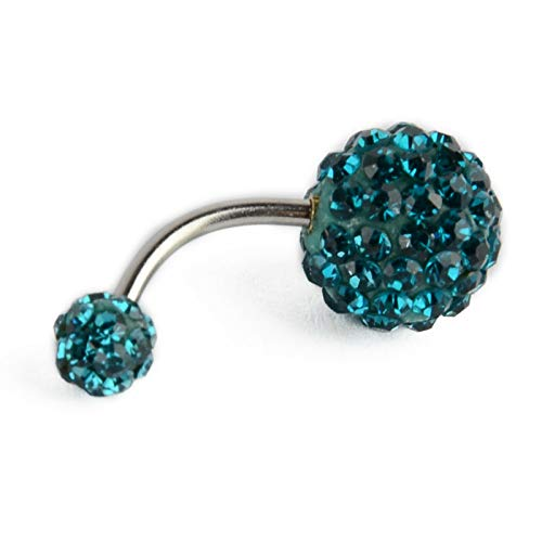 (Navel Belly Button Ring Barbell Rhinestone Crystal Ball Piercing Body Jewelry (Color - Aquamarine))