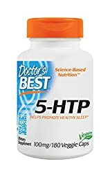 Doctor\'s Best 5-HTP Veggie Capsules, 100 mg, 180 Count