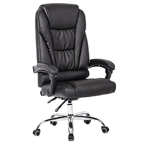 Leather Like Swivel Recliner (Little Boy Luxury High Back Ergonomic Big and Tall Executive Swivel Leather Recliner Boss Office Chair with Lumbar Support Black)
