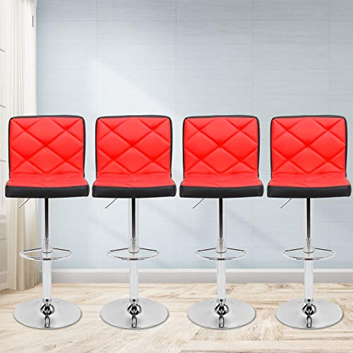 Magshion Faux Leather Bar Stools Adjustable 360 Degree Swivel Backrest Footrest Barstool Set of 4 Mixed-Red
