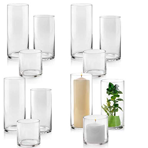Set of 12 Glass Cylinder Vases 4 from Each Size 4, 8, 10 Inch Tall - Multi-use: Pillar Candle, Floating Candles Holders or Flower Vase - Perfect as a Wedding Centerpieces. (Floating Glass Vase)