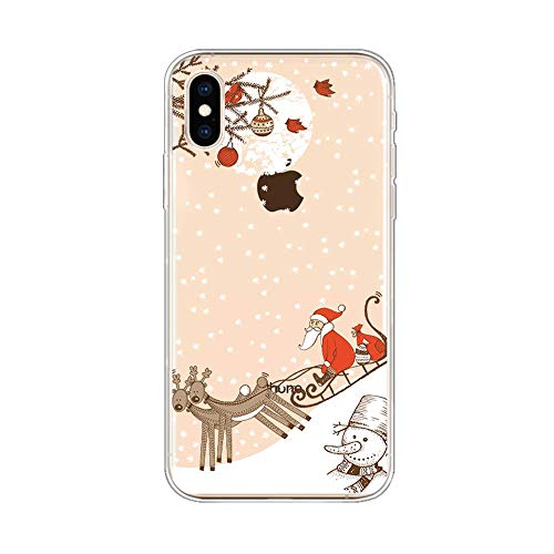 39s Apple - Ewewesse Case for iPhone XR Christmas, Slim Clear Shockproof Anti-Scratch TPU Bumper Cover, Snowman Snowflake Santa Claus Pattern