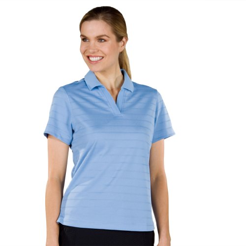 Monterey Club Ladies Dry Swing Tonal Stripe Texture Short Sleeve Shirt #2066 (Sky Blue, Medium)