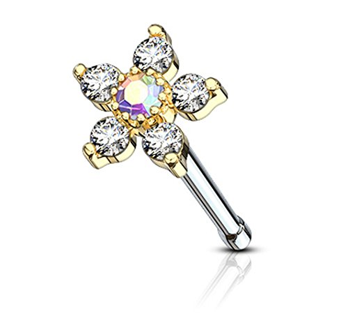 ry 20g 14k Gold Plated Surgical Steel Nose Stud w/Big Bling 6-CZ Crystal Flower, Aurora Borealis/Clear (Aurora Borealis Flower)