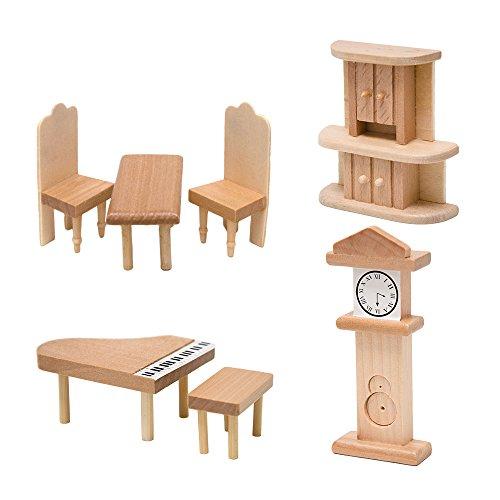 Puppenmöbel Set Wohnzimmer 7-teilig Puppenhauszubehör Puppenhaus Zubehör Austattung