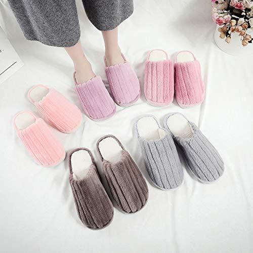 Pink Padded Warm Lined Slip On Four Seasons Womens Ladies Mule Slippers