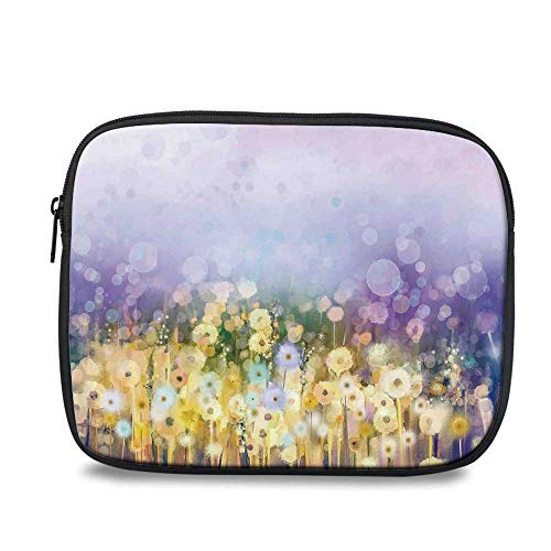 Watercolor Flower Home Decor Durable iPad Bag,Chamomile and Dandelion Field Meadow Landscape Idyllic View for iPad,10.6