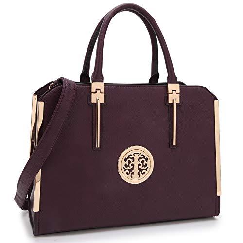 Dasein 2pcs Women Shoulder Purses Top handle Handbags Satchel Bags Work Tote Bags with Wallet (dark purple)