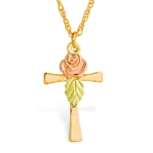 Black Hills Gold Cross Pendant with Rose Gold Dakota Rose